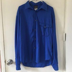 Versace Royal Blue Button Down Shirt